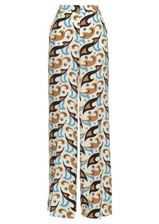 Etro Wide-leg abstract-print silk trousers