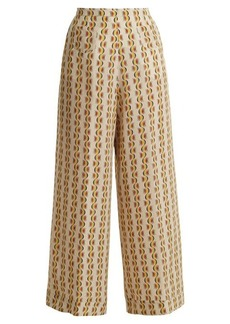 Etro Wide-leg crescent-print silk trousers