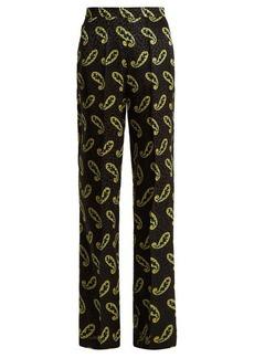 Etro Wide-leg paisley-print silk-jacquard trousers