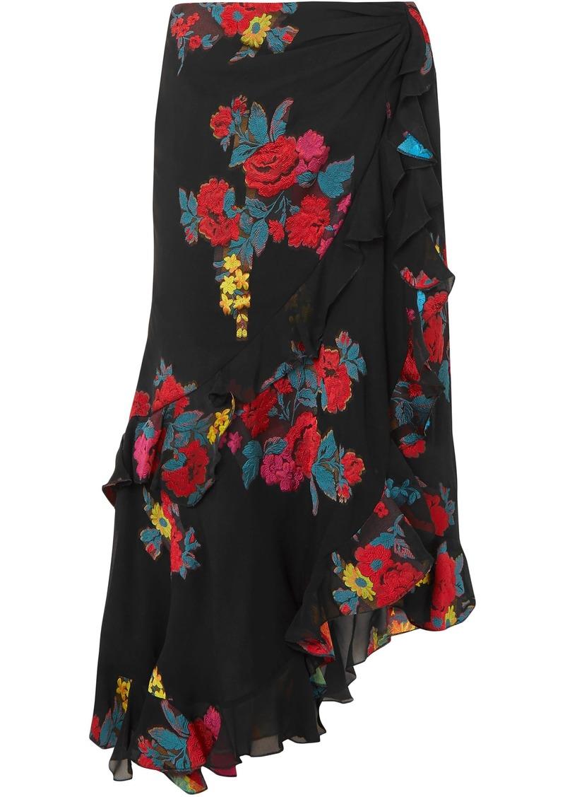 Etro Woman Asymmetric Floral-jacquard Midi Skirt Black