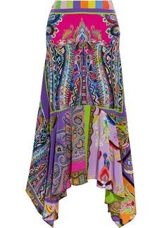 Etro Woman Asymmetric Printed Silk Crepe De Chine Midi Skirt Multicolor
