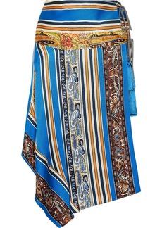 Etro Woman Asymmetric Printed Silk-faille Wrap Skirt Blue