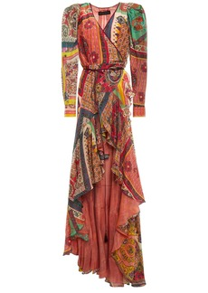 Etro Woman Asymmetric Ruffled Printed Cotton And Silk-blend Wrap Dress Brick