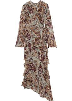 Etro Woman Asymmetric Tiered Printed Fil Coupé Silk-blend Chiffon Maxi Dress Multicolor