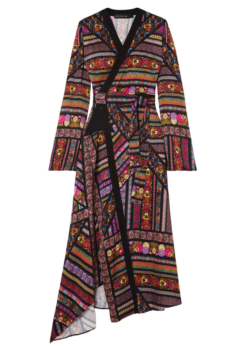 Etro Woman Wrap-effect Printed Crepe De Chine Midi Dress Black