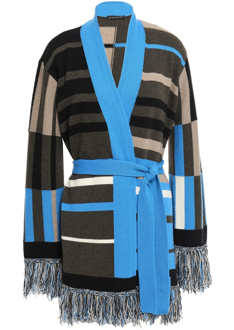 Etro Woman Belted Fringe-trimmed Intarsia-knit Cardigan Black