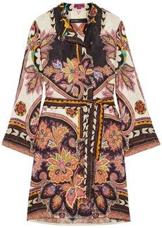 Etro Woman Belted Printed Satin-jacquard Dress Orange