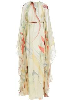 Etro Woman Belted Printed Silk-chiffon Kaftan Cream
