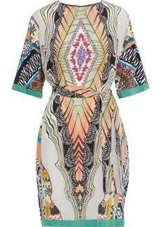 Etro Woman Belted Printed Silk Crepe De Chine Dress Multicolor