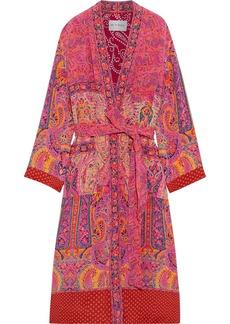 Etro Woman Belted Printed Silk-crepe Kimono Multicolor