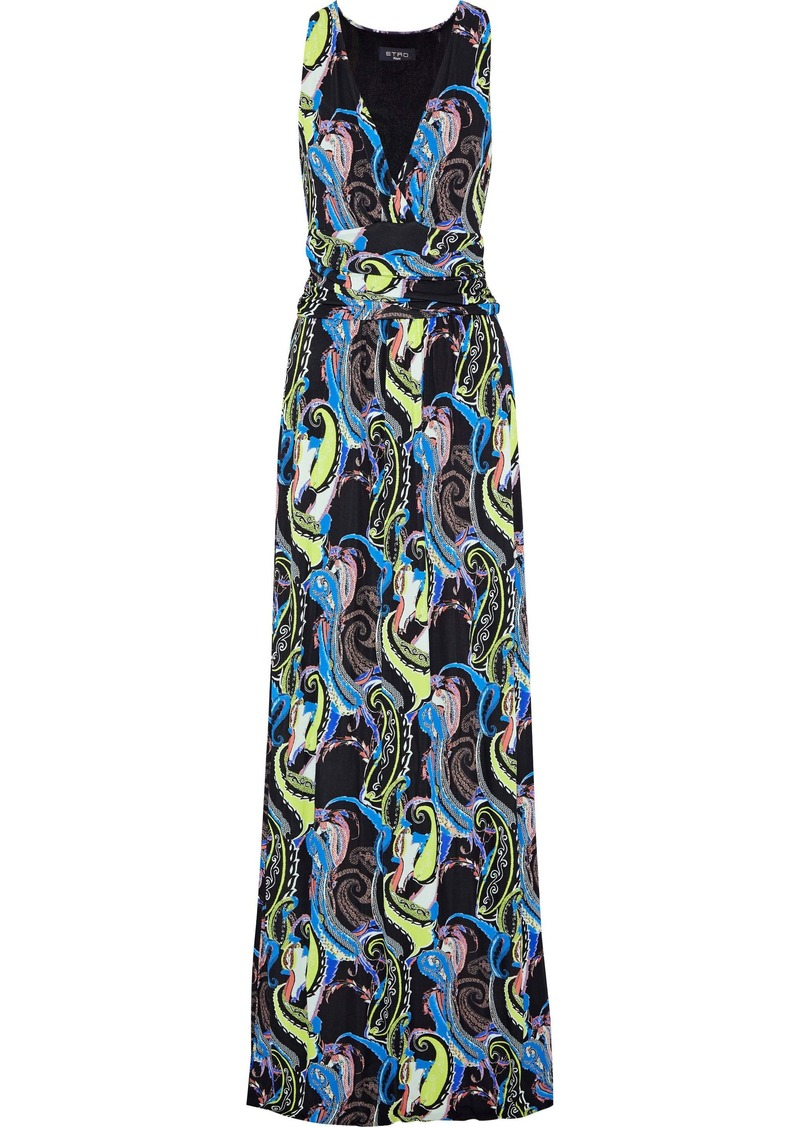 Etro Woman Ruched Printed Stretch-crepe Maxi Dress Black