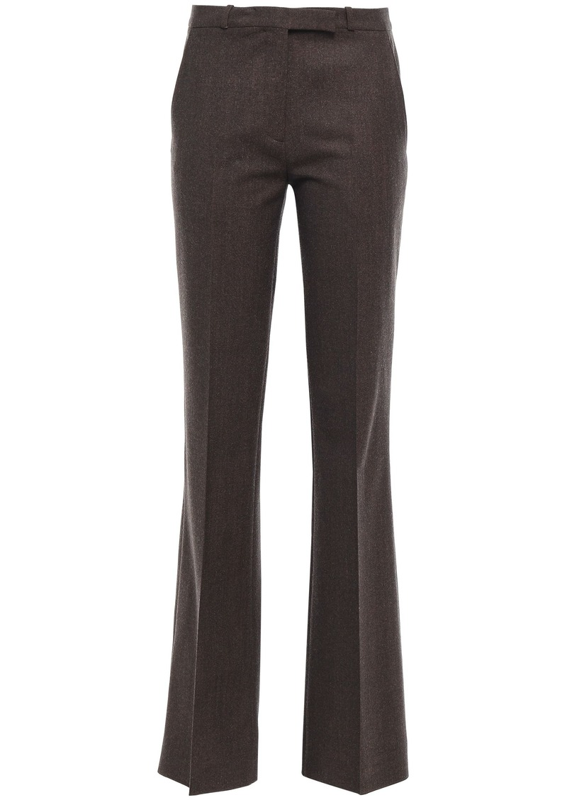 Etro Woman Brushed Wool-blend Twill Bootcut Pants Dark Brown