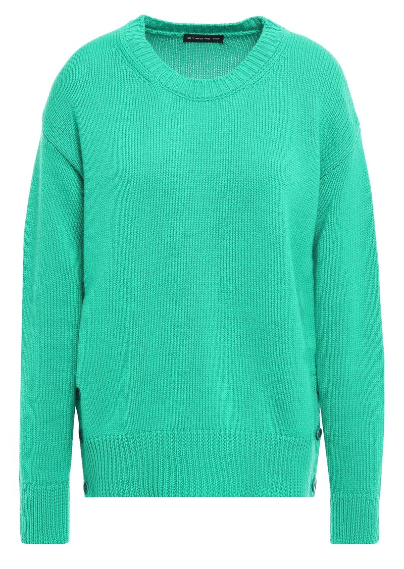Etro Woman Button-detailed Knitted Sweater Jade