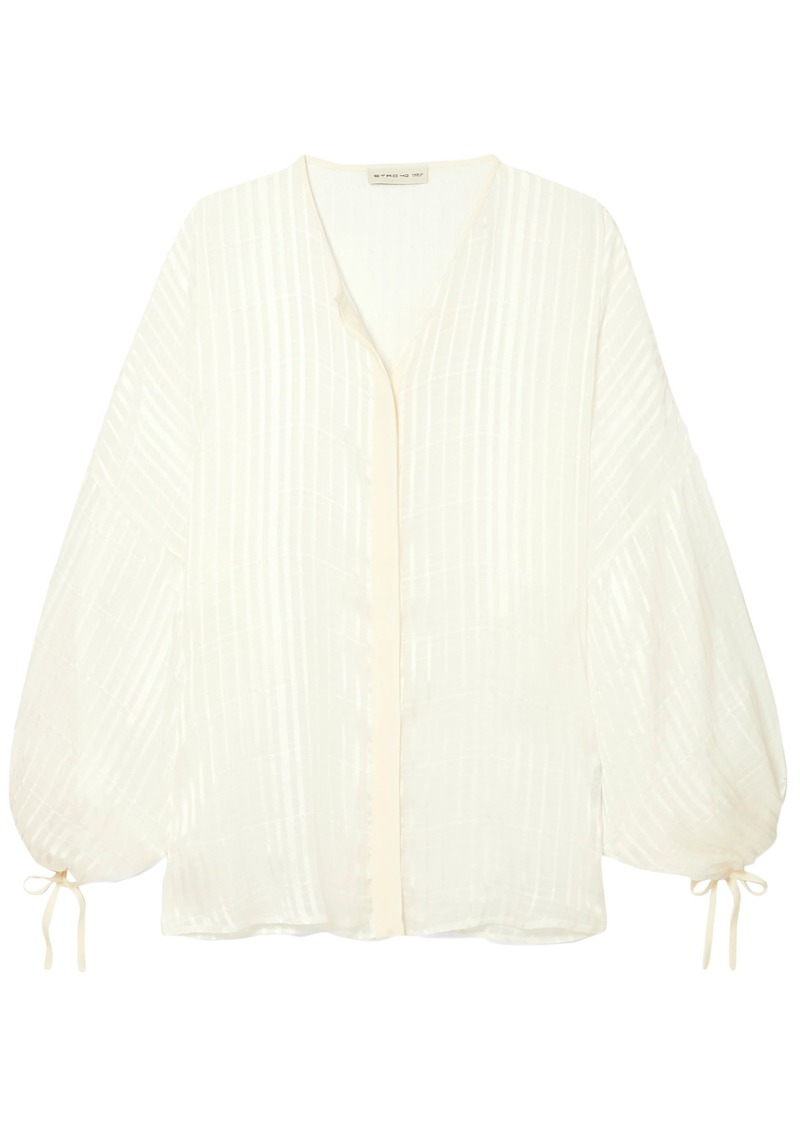 Etro Woman Checked Silk-jacquard Blouse White