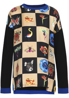 Etro Woman Checked Twill-paneled Wool-blend Sweater Black