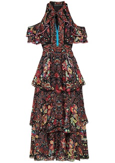 Etro Woman Cold-shoulder Printed Silk-georgette Maxi Dress Black