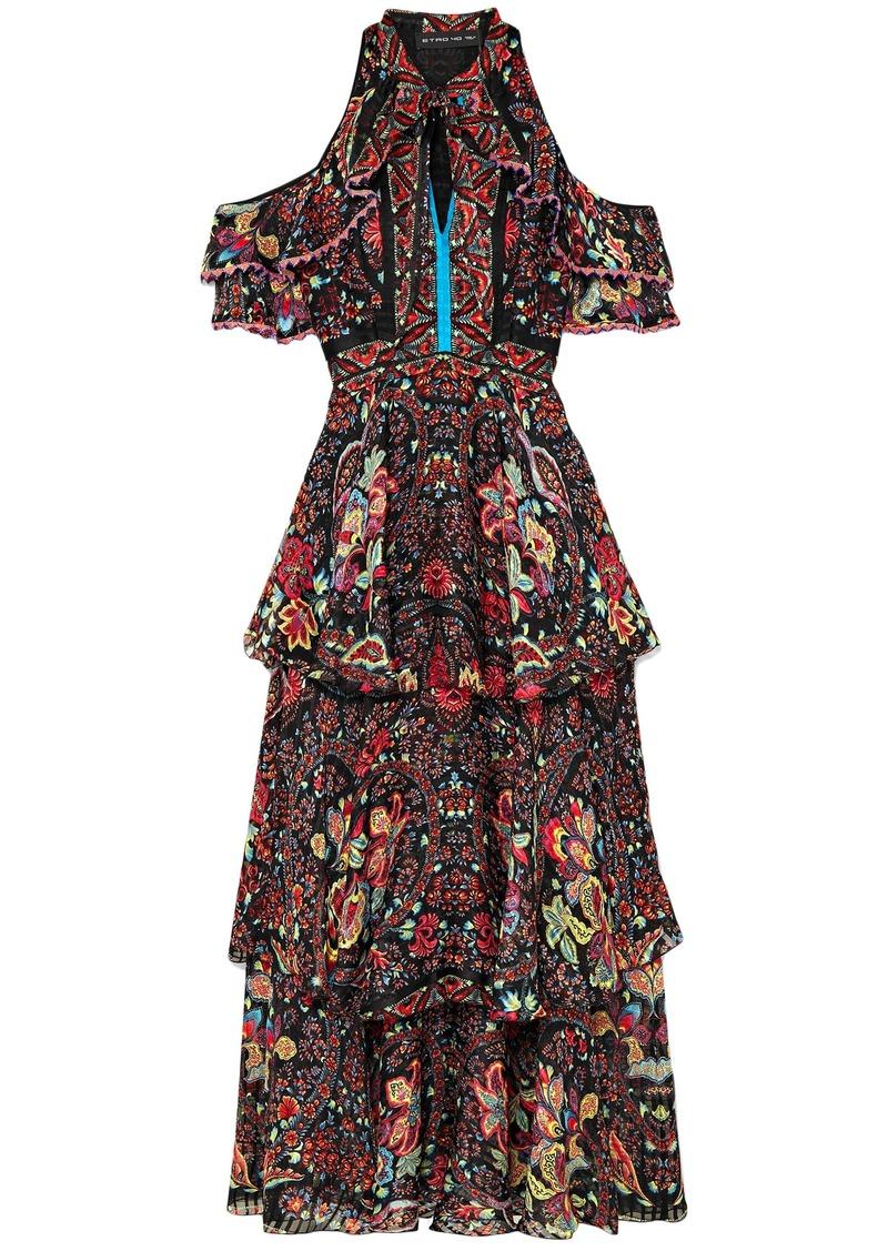 Etro Woman Cold-shoulder Printed Silk-georgette Maxi Dress Black