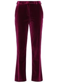 Etro Woman Cotton-blend Velvet Straight-leg Pants Plum