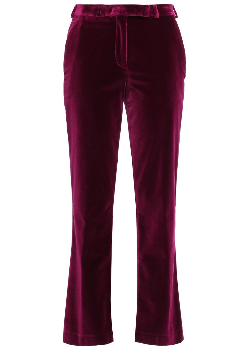 Etro Woman Cotton-blend Velvet Straight-leg Pants Plum