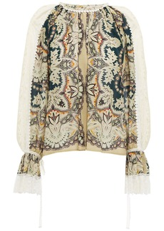 Etro Woman Crochet-trimmed Printed Cotton And Silk-blend Blouse Multicolor