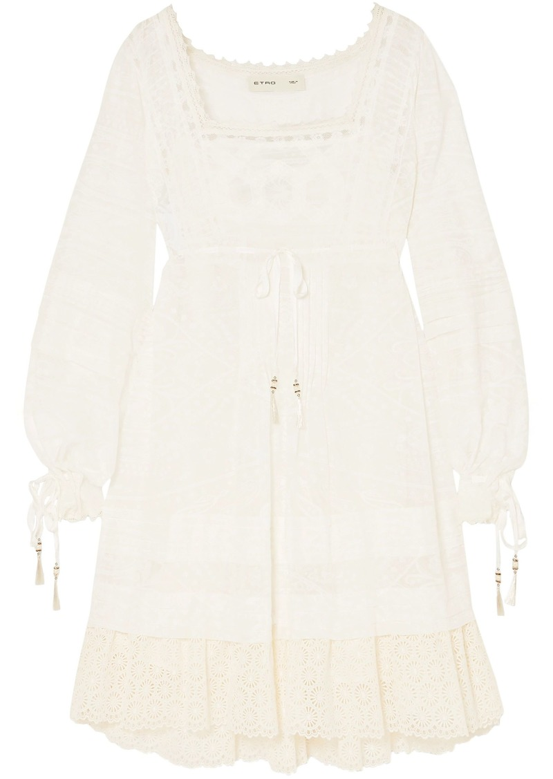 Etro Woman Crochet-trimmed Printed Cotton And Silk-blend Voile Mini Dress Off-white