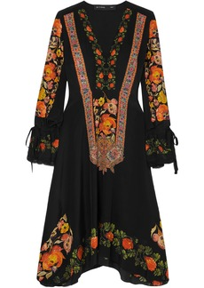 Etro Woman Crochet-trimmed Printed Silk Crepe De Chine Dress Black