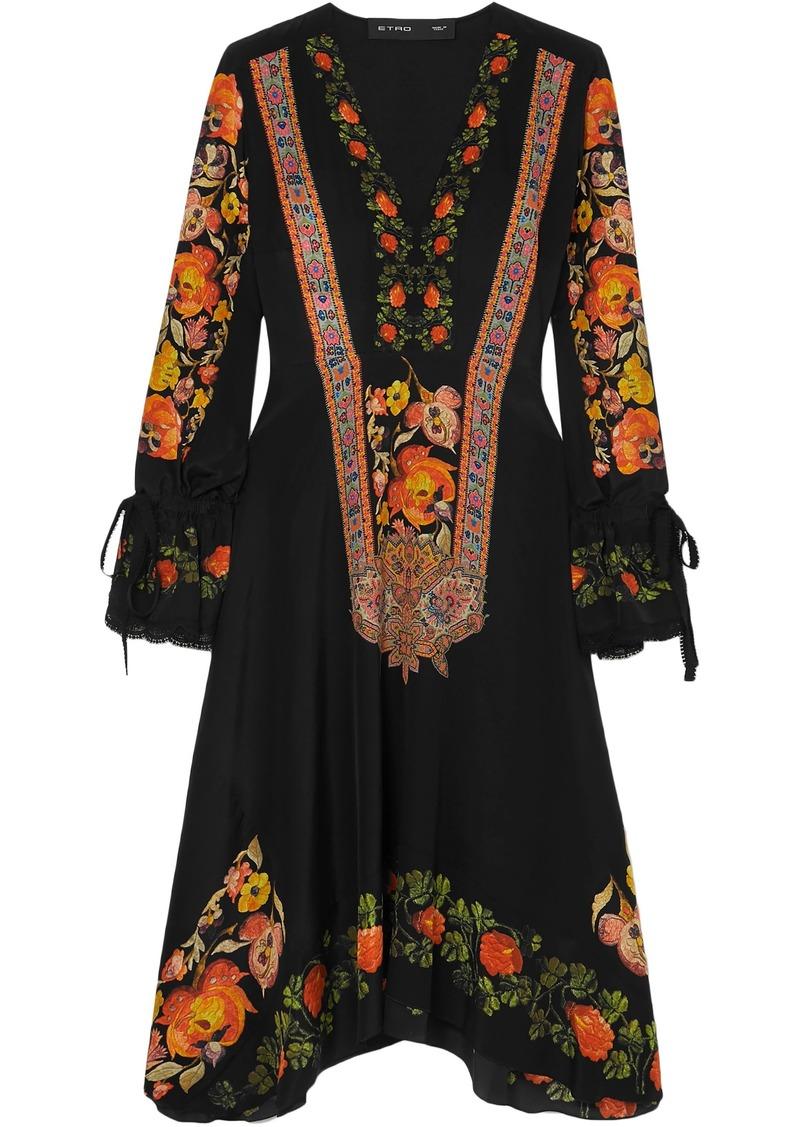 Etro Woman Crochet-trimmed Printed Silk Crepe De Chine Dress Black