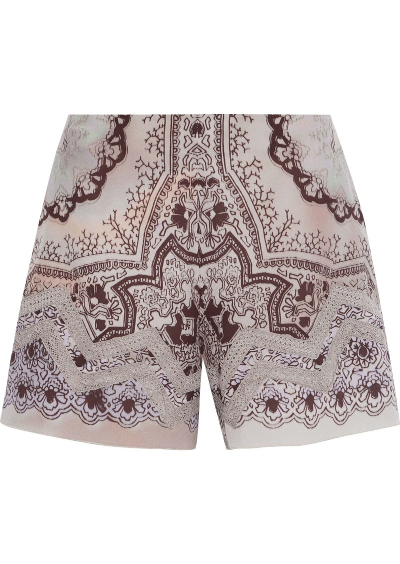 Etro Woman Crochet-trimmed Printed Washed-silk Shorts Lilac