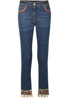 Etro Woman Cropped Embellished High-rise Skinny Jeans Dark Denim