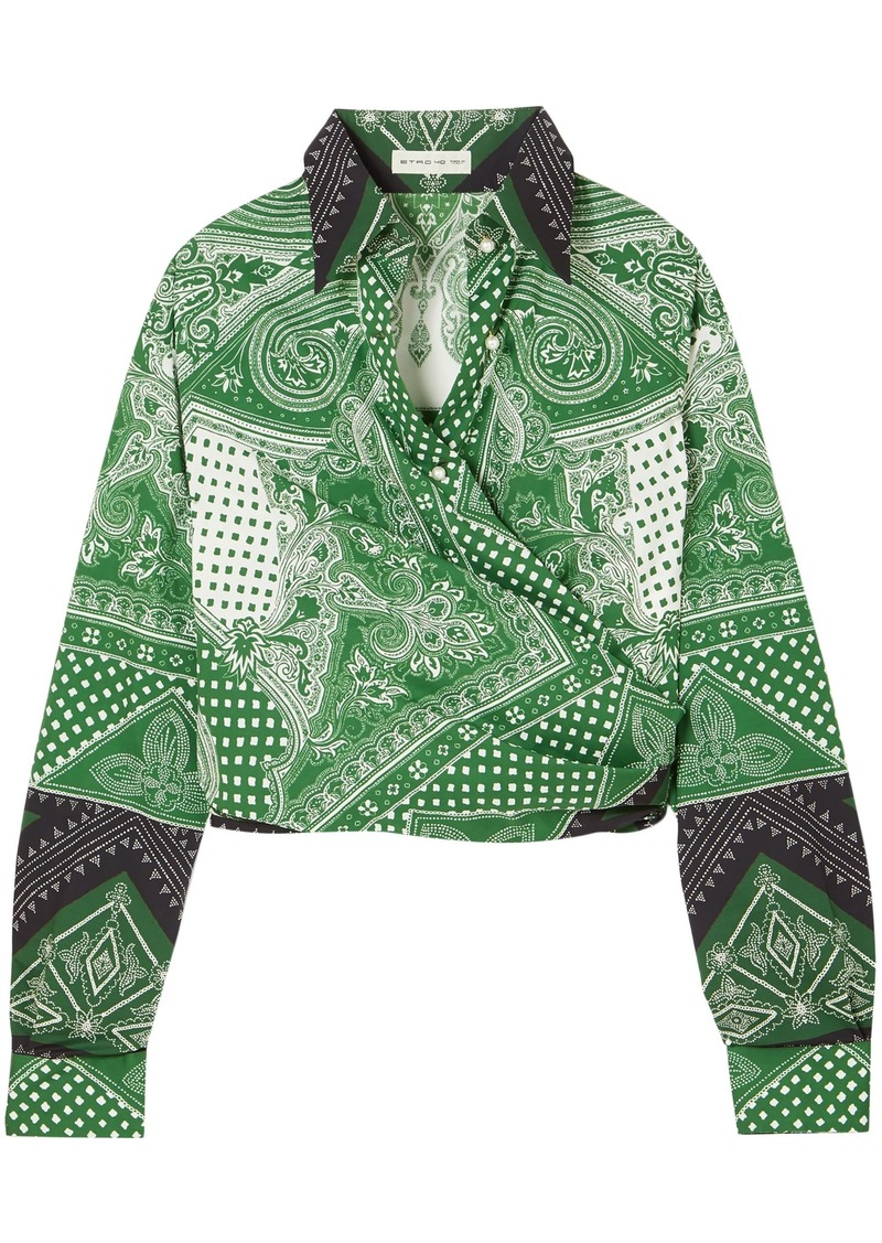 Etro Woman Cropped Printed Cotton-blend Wrap Top Green