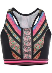 Etro Woman Cropped Printed Stretch-knit Top Black