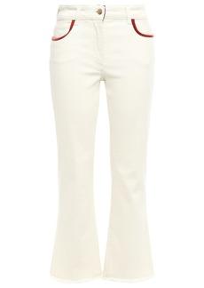 Etro Woman Cropped Appliquéd High-rise Bootcut Jeans Ivory