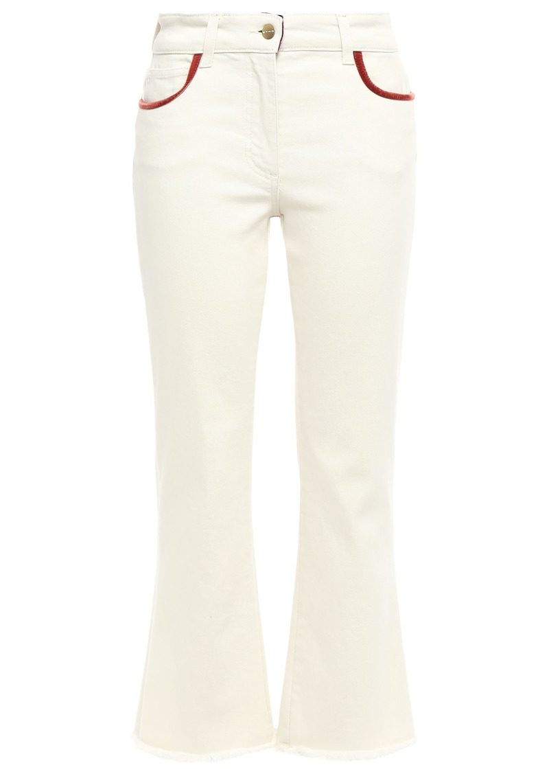 Etro Woman Cropped Appliquéd High-rise Bootcut Jeans Ivory