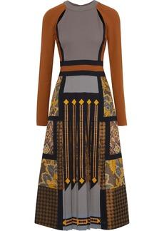 Etro Woman Cutout Pleated Printed Crepe And Jacquard Midi Dress Light Brown