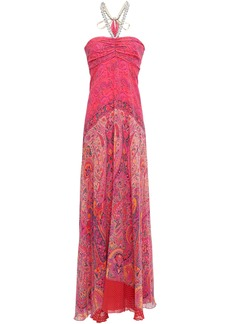 Etro Woman Draped Embellished Printed Silk-georgette Gown Multicolor