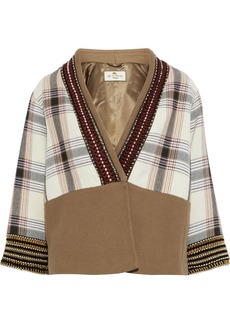 Etro Woman Embellished Checked Cotton-blend Canvas Jacket Tan