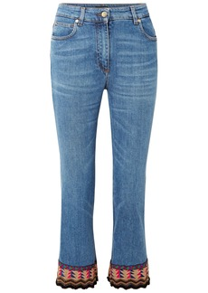Etro Woman Embellished High-rise Kick-flare Jeans Mid Denim