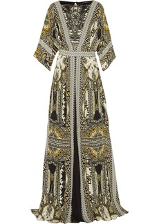 Etro Woman Embellished Leather-trimmed Printed Silk-chiffon Maxi Dress Multicolor
