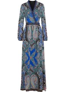 Etro Woman Wrap-effect Embellished Silk Crepe De Chine Maxi Dress Blue