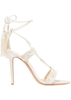 Etro Woman Embroidered Lace And Satin Sandals Off-white