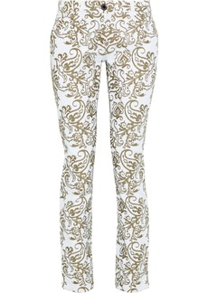 Etro Woman Embroidered Mid-rise Slim-leg Jeans White