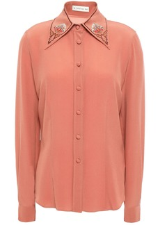 Etro Woman Embroidered Silk-crepe Shirt Antique Rose