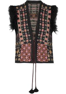 Etro Woman Faux Fur-trimmed Jacquard-knit Vest Charcoal