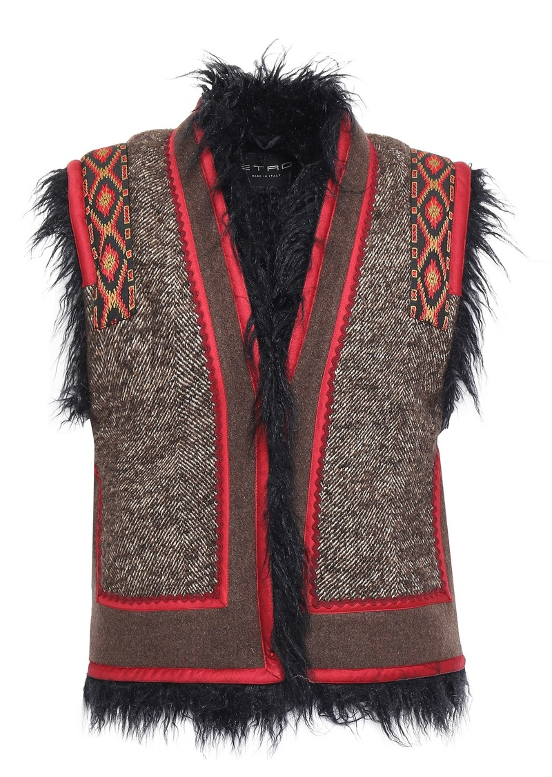 Etro Woman Faux Shearling-lined Appliquéd Tweed And Felt Vest Taupe