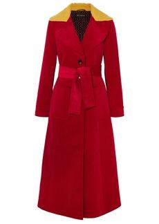 Etro Woman Faux Shearling-trimmed Cotton-corduroy Coat Crimson