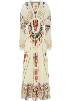 Etro Woman Fil Coupé Crepe De Chine-paneled Printed Silk-georgette Maxi Dress Cream