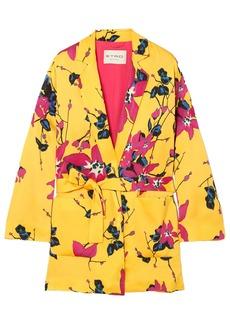 Etro Woman Floral-print Satin Wrap Jacket Yellow