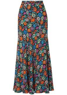 Etro Woman Floral-print Crepe Maxi Skirt Black
