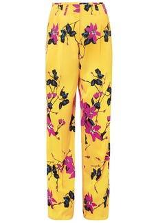 Etro Woman Floral-print Crepe Wide-leg Pants Marigold