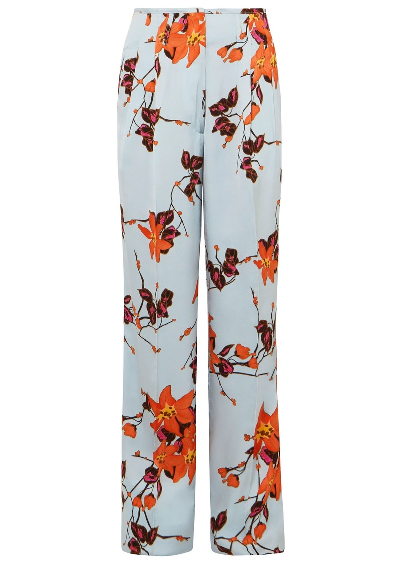 Etro Woman Floral-print Crepe Wide-leg Pants Sky Blue